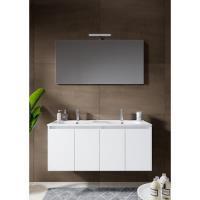 12345003Comfort Line York Doors badmeubel 120 cm 4 deuren softclose hoogglans wit met wastafel, spiegel en opbouwlamp