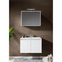 12345005Comfort Line York Doors badmeubel 80 cm 2 deuren softclose hoogglans wit met wastafel, spiegelkast en opbouwlamp