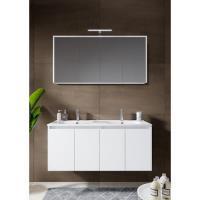 12345007Comfort Line York Doors badmeubel 120 cm 4 deuren softclose hoogglans wit met wastafel, spiegelkast en opbouwlamp