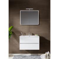 12345013Comfort Line York Slim compact badmeubel 80 cm met wastafel, 2 laden softclose hoogglans wit met spiegelkast en opbouwlamp