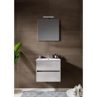 12345014Comfort Line York Slim compact badmeubel 60 cm met wastafel, 2 laden softclose grijs eiken met spiegel en opbouwlamp