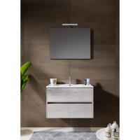 12345015Comfort Line York Slim compact badmeubel 80 cm met wastafel, 2 laden softclose grijs eiken met spiegel en opbouwlamp