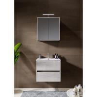 12345016Comfort Line York Slim compact badmeubel 60 cm met wastafel, 2 laden softclose grijs eiken met spiegelkast en opbouwlamp