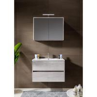 12345017Comfort Line York Slim compact badmeubel 80 cm met wastafel, 2 laden softclose grijs eiken met spiegelkast en opbouwlamp