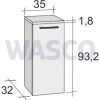 39606442Riho Altare halfhoge kast 95 cm 1 deur softclose wit zijdeglans