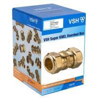 A2350082VSH messing knel rechte koppeling (sok) 22 x 22mm 2 x knel doos a 20 stuks